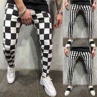 La mode estivale des nouveaux hommes Hirigin Slim confortable rayé à carreaux noir blanc pantalon crayon décontracté hommes vêtements