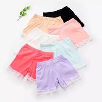 6 Farben Sommer-Mode-Mädchen-Baumwollkurzschluss-Gamaschen Spitze-Kurzschluss-Gamaschen für Mädchen schnüren Sicherheits-Hosen Shorts Baby Short Tights