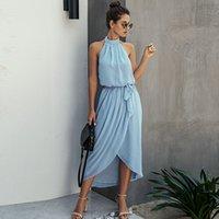 우아한 등이없는 여름 드레스 여성 섹시한 고삐 오프 숄더 레이스 업 프런트 분할 미디 드레스 레이디 불규칙한 블루 드레스 Vestidos