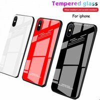 For iphone xs max phone case Solid color glass Anti- fall and...