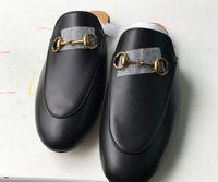 Zapatos de ropa de diseñador clásicos europeos, zapatillas de damas, metal decorativo, cuero suave, tacón bajo, estilos más coloridos
