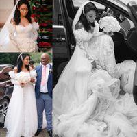 فساتين زفاف Overskirts مع القطار قابل للفصل قبالة الكتف الكشكشة اللباس الرباط الزفاف الأكمام الطويلة الزفاف ارتداء vestidos دي نوفيا