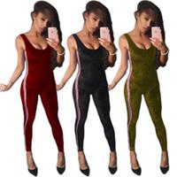 European fashionable bodysuit para mulheres com cor fita diamante jumpsuits de desenhador de veludo sexy sleeveless