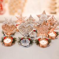 10 piezas de hierro Candelero Decoración de Navidad Vela luz ornamento para cartones de soporte de la vela Inicio Decoración de Navidad XD23281