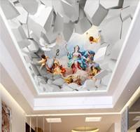 ángel 3D personalizado techo HD estereoscópica fondo de pantalla Uso en cualquier fotografía techo de la sala fondos de pantalla 3d