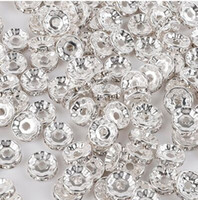 300 Pçs / lote Branco AB Cristal Rhinestone Rondelle Spacer Beads DIY 8mm encantos Para Fazer Jóias