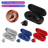 محمول DT-1 ستيريو TWS سماعة لاسلكية صغيرة سماعات الأذن بلوتوث الاذان الموسيقى المحمول HeadphoneBuilt في هيئة التصنيع العسكري السيارات الاقتران سماعات DHL