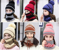 4- piece Suit Knitted Hat + Scarf + Mask + Gloves Knitted Cos...