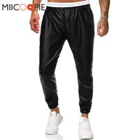 Marque Pantelons PU Sweatpants Black Fashion Faux cuir Joggers Sarouel hommes Parkour Hip Hop Trainingsbroek Mannen