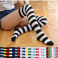 Fashion Lady Over Knee Long Stripe Printed Stockings Thigh H...