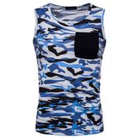 Yeni Stil Moda Erkek SKINY Slim Fit Kolsuz Kamuflaj Out cep Casual Temel Tee Spor üstleri Tank Vest Tops Sweat