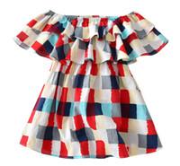 أطفال مصمم ملابس الفتيات فساتين INS أساليب الربيع الأوروبي وفتاة أمريكية ذات جودة عالية اللباس القطن منقوشة
