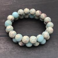 10мм матовый синий Impression Jasper браслет, браслет Gemstone, круглые бусины, эластичный браслет, браслет оптом