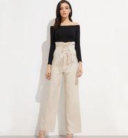 2019 femmes d'été vêtements haute taille pantalon large jambe femmes élégantes pantalon en dentelle à volants