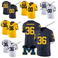 Customize 2019 Michigan Wolverines 조 커리지 컬리지 축구 유니폼 남성용 블루 옐로우 # 36 조 케리지 릿지 축구 셔츠 S-XXXL
