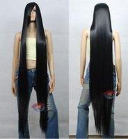 Ekstra Uzun Siyah Cosplay Peruk Yüksek Sıcaklık - Cosplaydna Peruk 150 cm Moda Parti Isıya Dayanıklı Peruk