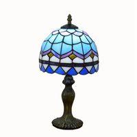 مصباح الطاولة الزجاجية الملون من (تيفاني) مصباح طاولة البحر الأبيض المتوسط الأزرق الأوروبي مصباح غرفة النوم الإبداعي