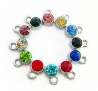 (24,60) PCS / lot mélanger les couleurs pendentif pierre de naissance pendentifs alliage médaillon flottant Convient Pour Verre Médaillon Magnétique Fabrication de Bijoux