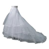فستان زفاف قماش قطني التنورة الداخلية الزفاف تحتية 2 الأطواق مع قطار مصلى