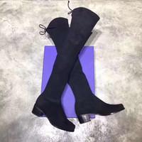 2019 yeni sonbahar kış siyah kadın kadınlar Uyluk Yüksek diz çizmeler tıknaz topuk yuvarlak ayak düz Moda namlulu streç çizmeler SW5050