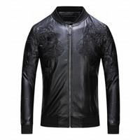 Yeni gündelik kış erkek deri ceket moda erkek PU uzun kollu deri katı motosiklet erkek ceket