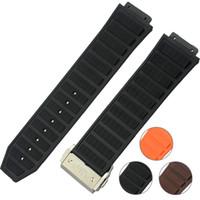 Erkekler Siyah Kahverengi Turuncu Saat Kayışı 26mm YENI Erkek Dalış Silikon Kauçuk WatchBAND Saat Kayışı Metal Toka G-S-HUB036