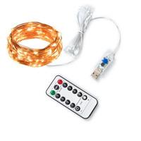 Uzaktan Kumanda USB Bakır Tel Led Işık Dize Düşük Voltaj Su Geçirmez Noel Dekorasyon Lambası Dize Çok Renkli IP65