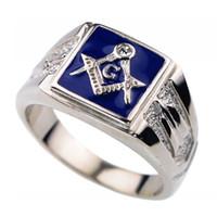 Anneau maçonnique en acier inoxydable 316L pour hommes de la mode Vintage Agate Diamond Lodge Franc-maçon Bague Taille 7-14