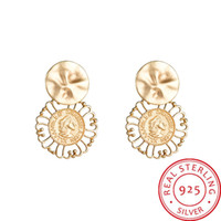S925 silver needle French engraving head woman earrings Euro...