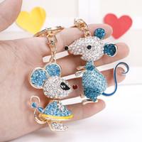 EASYA 2 estilos titulares de ratón encantador Llavero de cristal Llavero completa Animal Bolsa Mujeres Accesorios llave del coche de joyería de la cadena