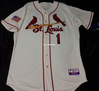 MAJESTIC Cheap ST LOUIS 1# OZZIE SMITH Cool Base IVORY Jerse...