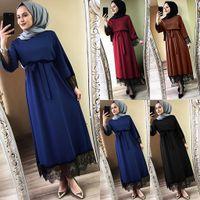Frauen muslimische lange Robe Tunika Abaya Dubai Kaftan Marocain Maxi Kleid türkische Kaftan islamische Kleidung Ramadan Arab Hijab Kleid