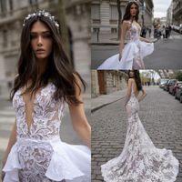 사용자 정의 인어 웨딩 드레스 2019 새로운 디자인 오픈 백 환상 오버 킷 브라 가운을 가진 빈티지 레이스 Vestido de Novia