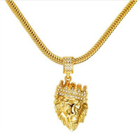 Homens Hot Hip Hop Jewelry Iced Out banhado a ouro 18K moda Bling Bling Lion Head Pendant Homens Colar Gold Filled Para Presente / GB1512 Present