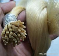 Günstige Doppel Gezeichnet menschliche Remy seidige gerade Blonde Farbe 613 # Keratin-Stick I Tipp Pre-Bonded-Haar-Verlängerungen Salon Versorgung Tanglefree