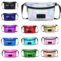 Pink Waist Bag Fanny Pack Transparent Laser Outdoor Bag Lett...