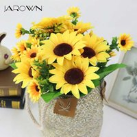 Falso JAROWN simulazione Girasole seta Bouquet di fiori artificiali per home office Tabletop Decor Decorazioni di nozze