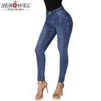 SEBOWEL High Waist Irregular Hem Pencil Jeans Woman Winter Autumn Spring Female Denim Wash Skinny Stretch Jeans Pants Streetwear
