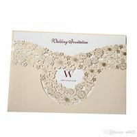 Tarjeta de invitación de casarse Ahuecando tarjetas de felicitación Boda de oro Decorar Suministros Foto creativa Cartón Especial Ventas calientes 1 7qyC1