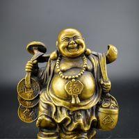 Chinese Fengshui Produkte Laughing Buddha Maitreya Figur Figur Gott des Reichtums Statue antike Messing Imitation Crafts für Hauptdekor