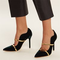 Fashion pointed toe Velvet Pumps Thin high heels double belt...