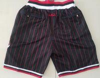 새로운 반바지 팀 반바지 97-98 빈티지 BaseKetball 반바지 지퍼 포켓 러닝 옷 검은 줄무늬 흰색 빨간색 완료 S-XXL