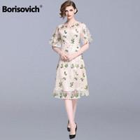 Борисович дамы Элегантного Бальные платья New 2019 Весна мода цветочных вышивки Гольф женщин вскользь N905