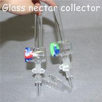 Narkahs kits de collectionneur de nectar de verre avec 10mm 14mm Conseils de quartz Nector collectionneurs Huile plate-forme Bongs Tuyaux de paille en silicone DAB