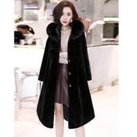 YENİ Gerçek Fox Kürk Kapşonlu Kaşmir Uzun Ceket Kadınlar Sonbahar Kış Karışımları Pist Coat Bayanlar Yün Coat F0196 M-2XL