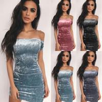 Frauen reizvolle Bodycon kurze Hülsen-trägerlose dünne weg von der Schulter-Minipartei-Clubwear Kleider neue weibliche Damen Kleidung Kleid