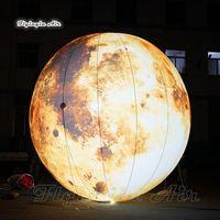 تخصيص الإضاءة نفخ القمر كوكب LED الفضائية من الأرض الأصفر سوبر القمر بالون على المكان ديكور السقف