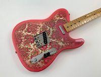 Tienda Personalizada James Burton Signature Tele Vintage Pink Paisley Guitarra Eléctrica Dark Amarillo Maple Cuello Diapotado, Negro Dot Inlay