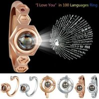 6 Styles 100 Languages I Love You Band Ring Projection Rings...