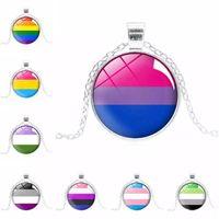 새로운 LGBT 사인 목걸이 무지개 패턴 cabochons 유리 펜던트 체인 게이 레즈비언 양성 애자 Transgender 프라이드 패션 쥬얼리 선물 대량